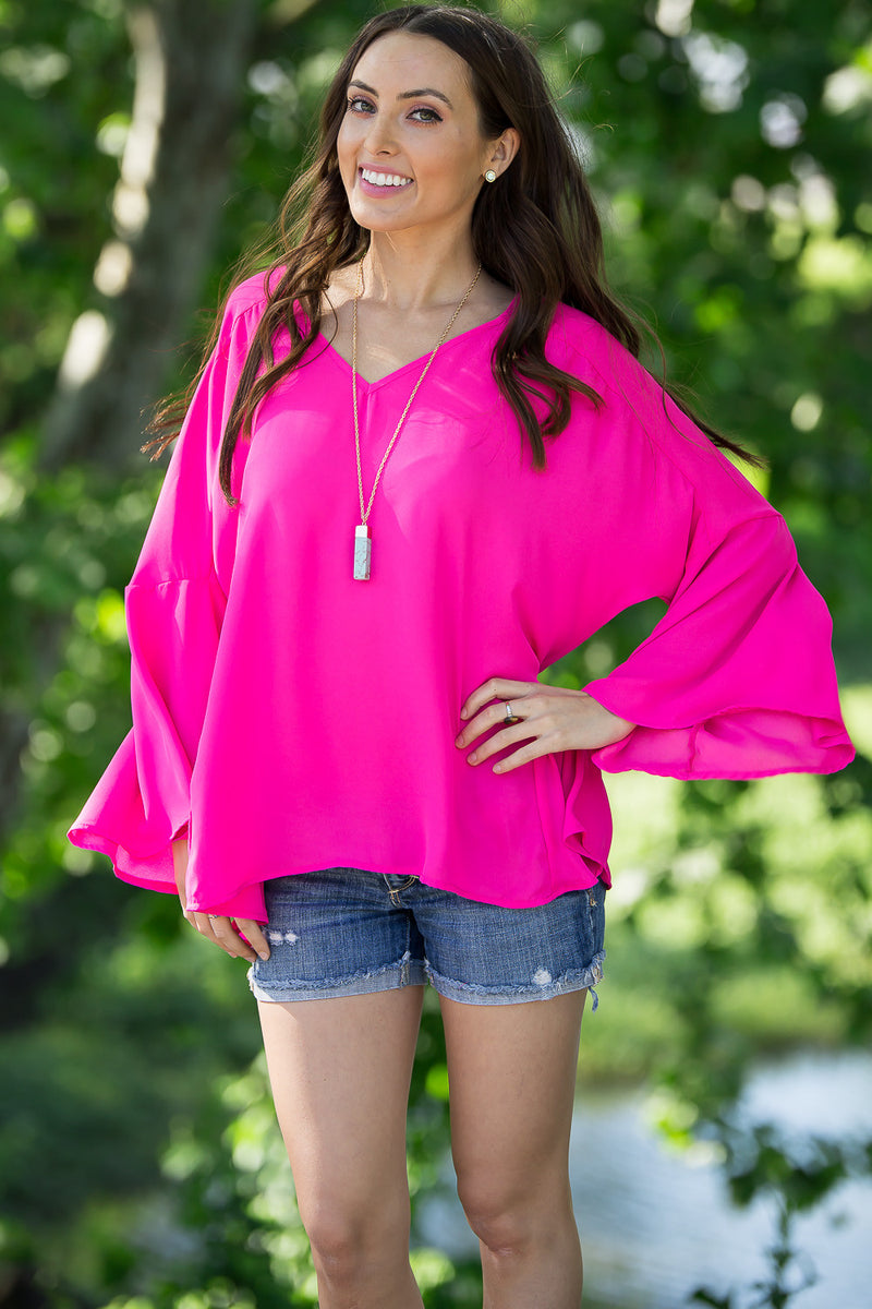 For The Bell Of It Top-Fuchsia