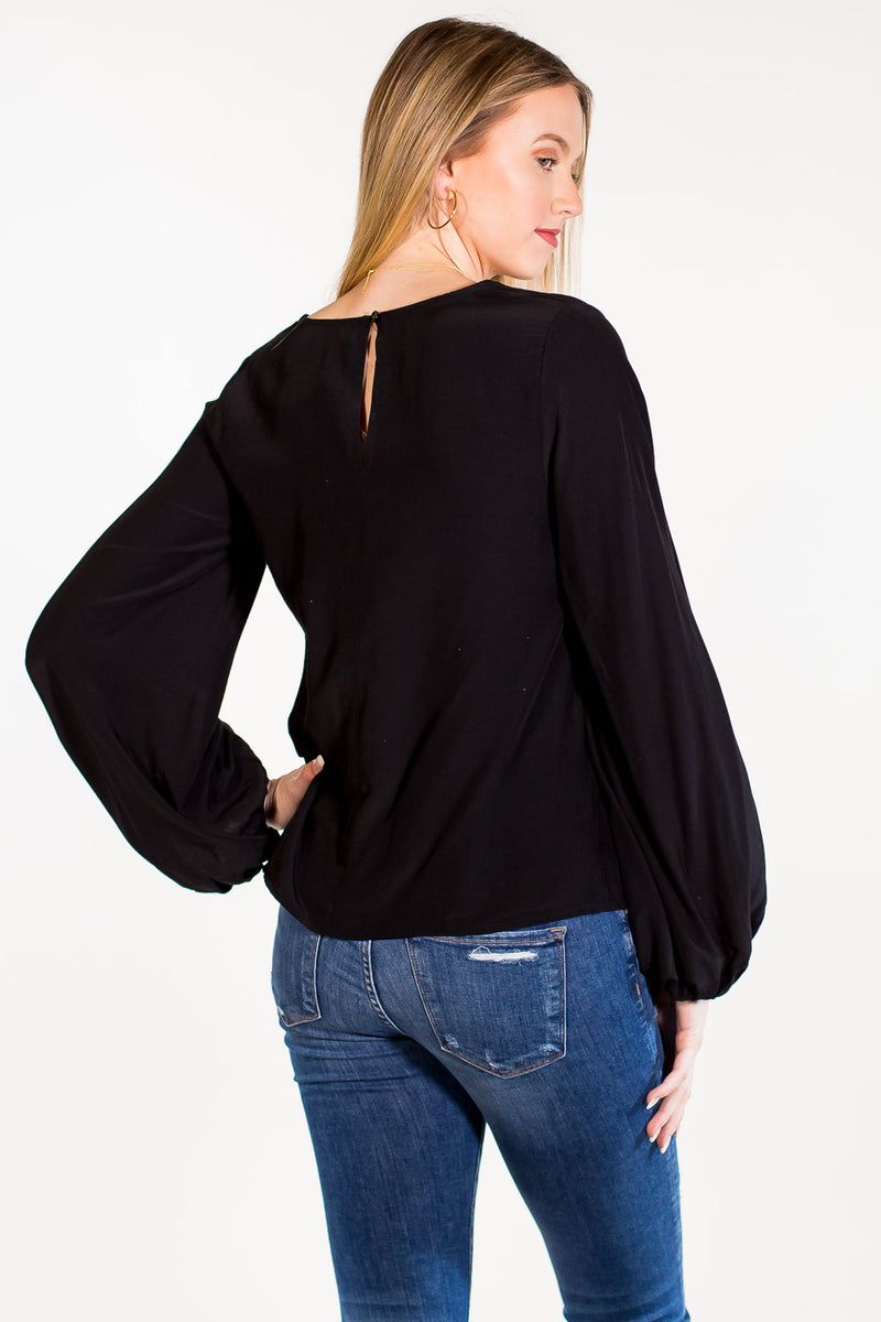 SALE - Balloon Sleeve Top - Black