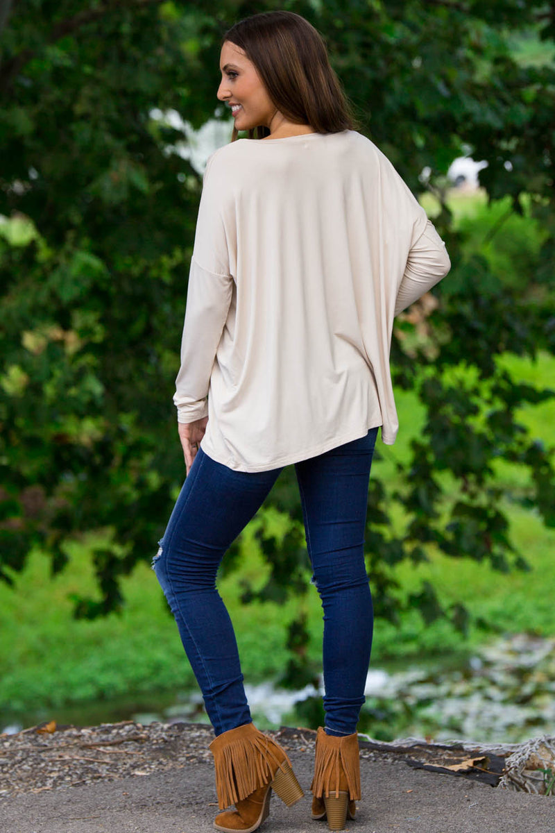 The Perfect Piko V-Neck Top-Sand