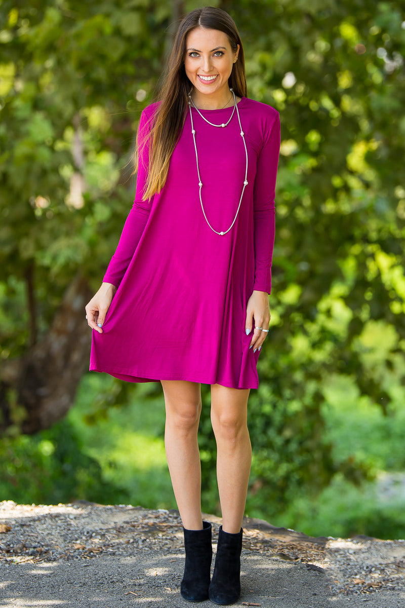 5ee937e4be65c The Perfect Piko Long Sleeve Swing Dress-Bright Fuchsia ...