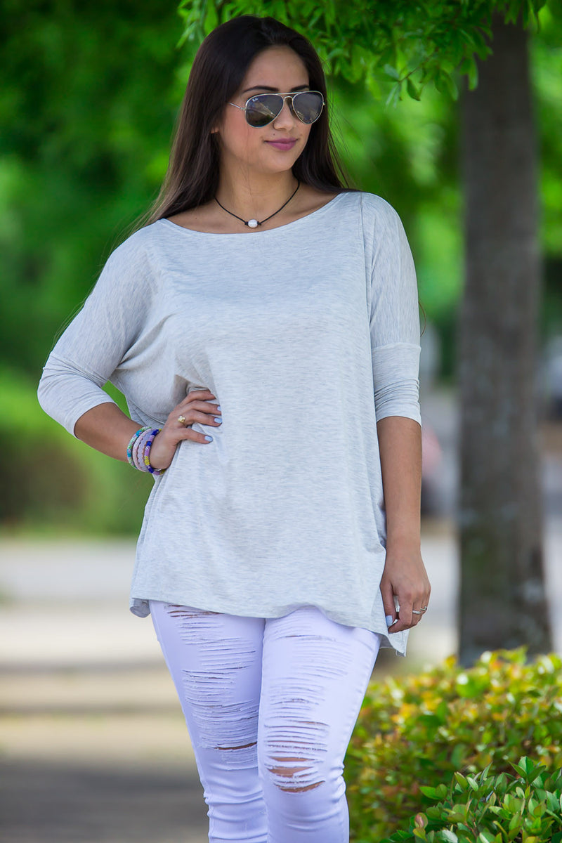 The Perfect Piko 3/4 Sleeve Top-Light Heather Grey