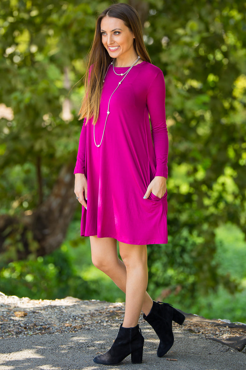 The Perfect Piko Long Sleeve Swing Dress-Bright Fuchsia