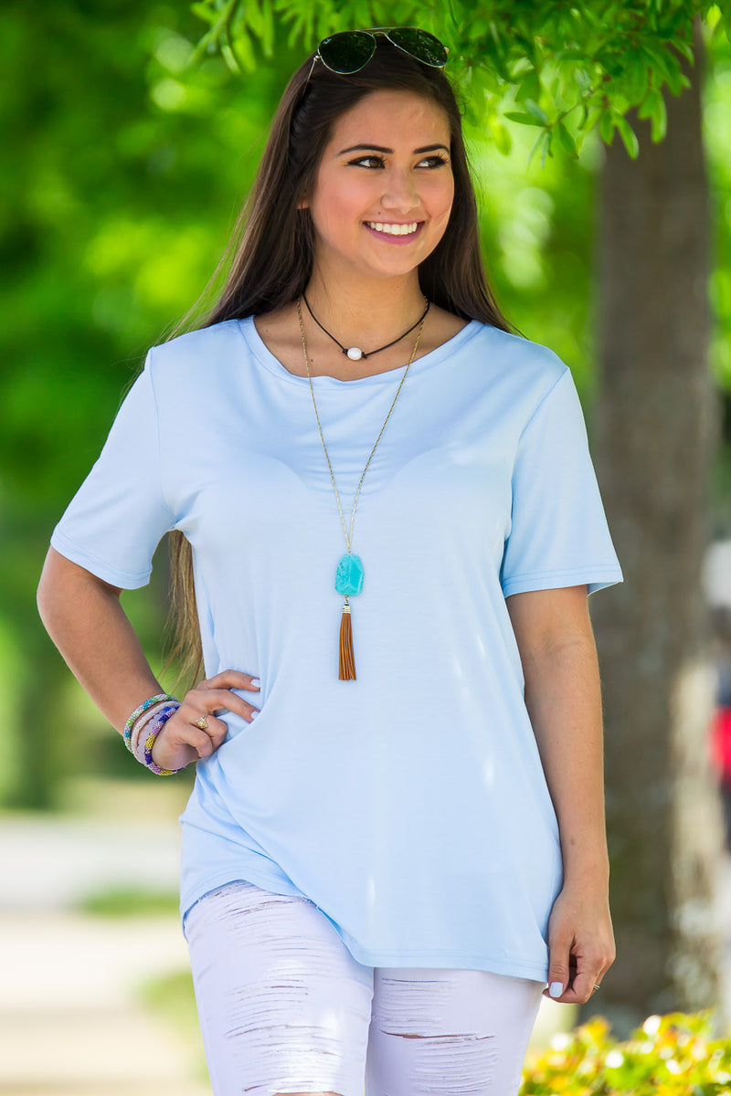 Short Sleeve Round Neck Piko Tee-Light Blue
