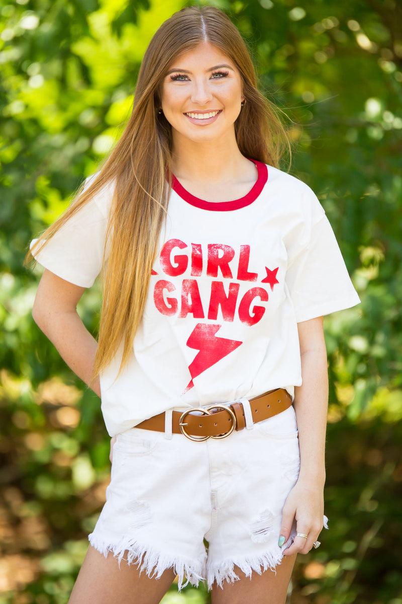 Girl Gang Graphic Tee-Red