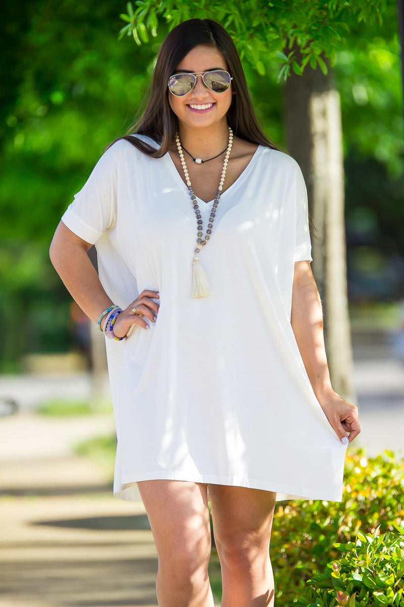 The Perfect Piko Short Sleeve V-Neck Tunic-Off White