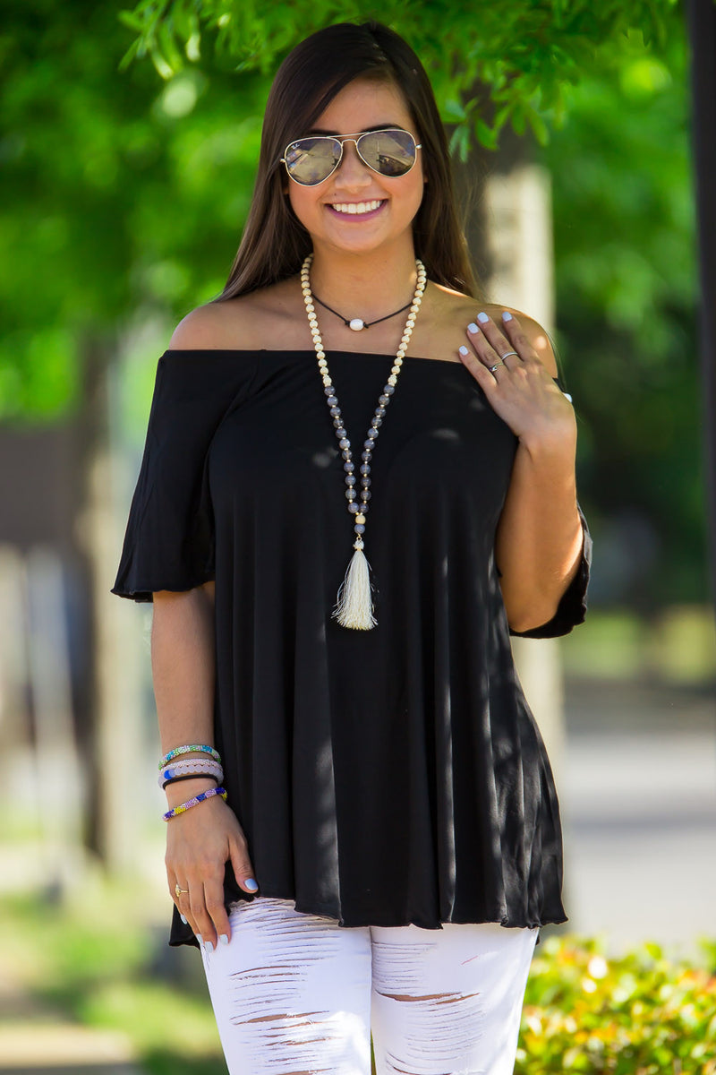 The Perfect Piko Off The Shoulder Top-Black