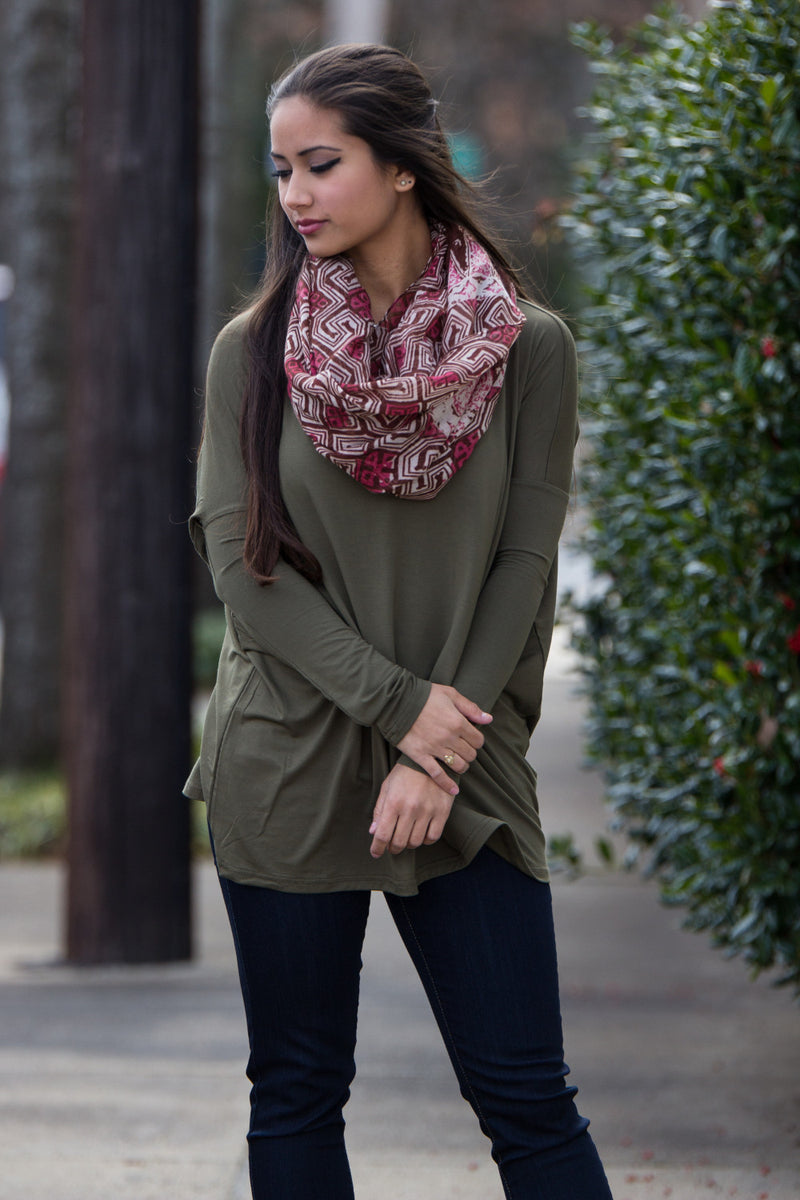 The Perfect Piko V-Neck Top-Dark Olive