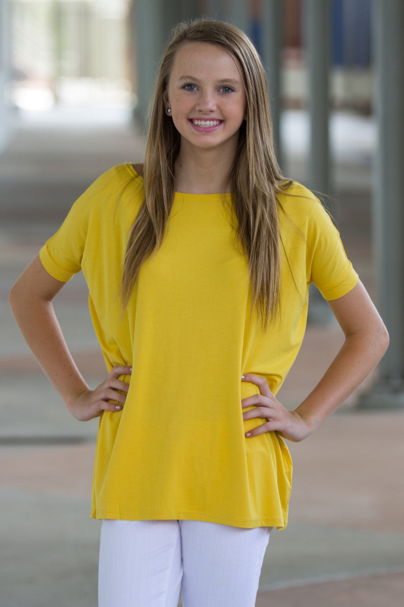 The Perfect Piko Short Sleeve Top-Mustard
