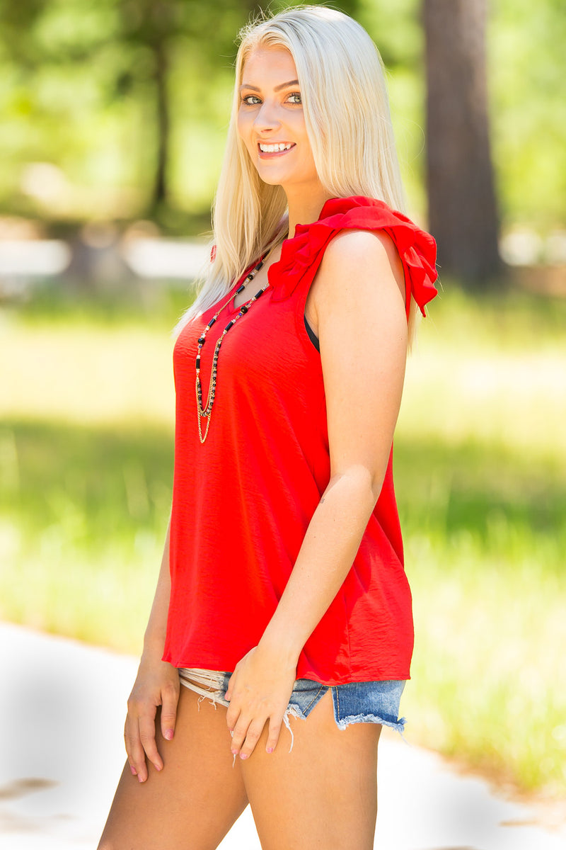 Ruffle Me Up Tank- Tomato Red