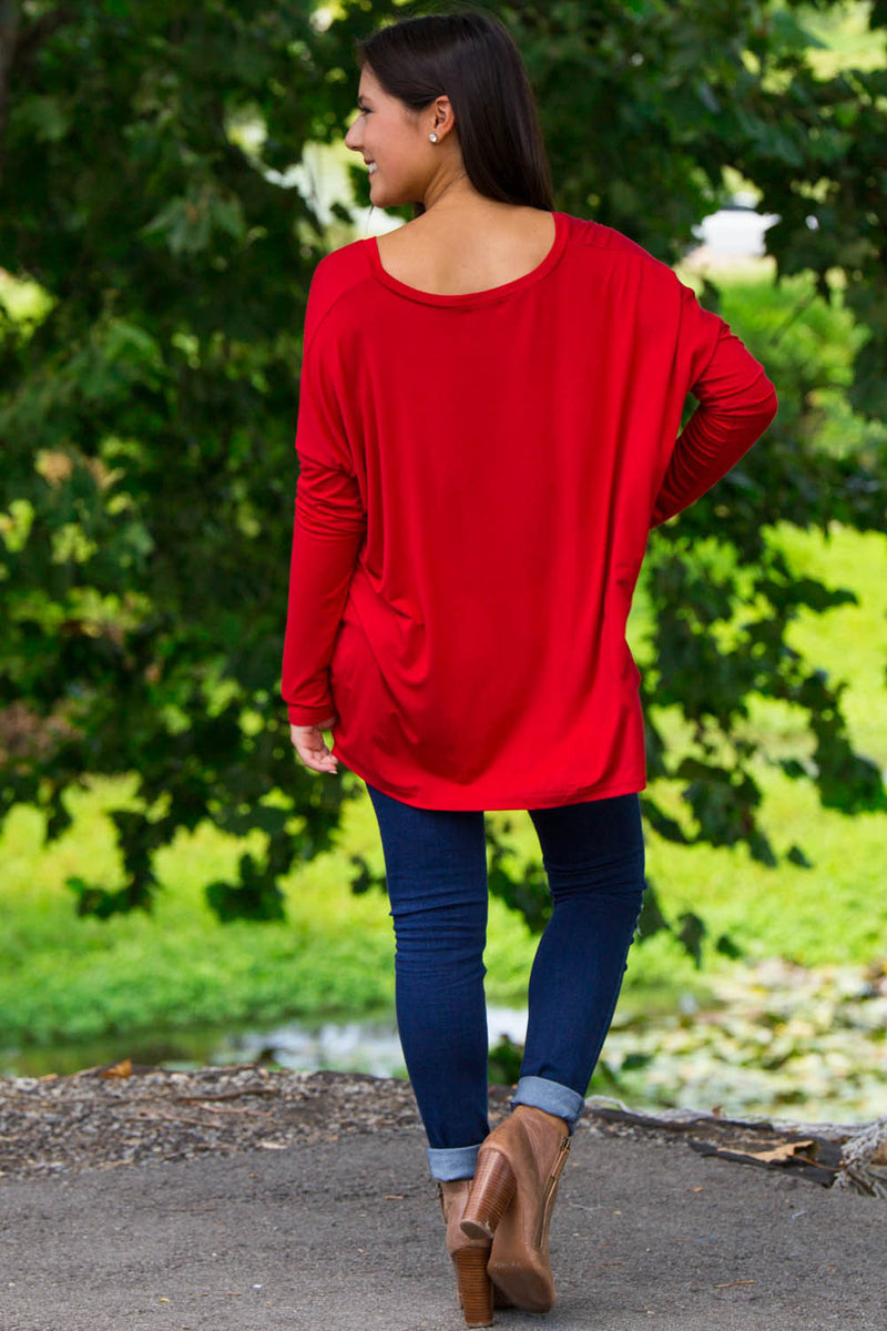 The Perfect Piko V-Neck Top-Dark Red