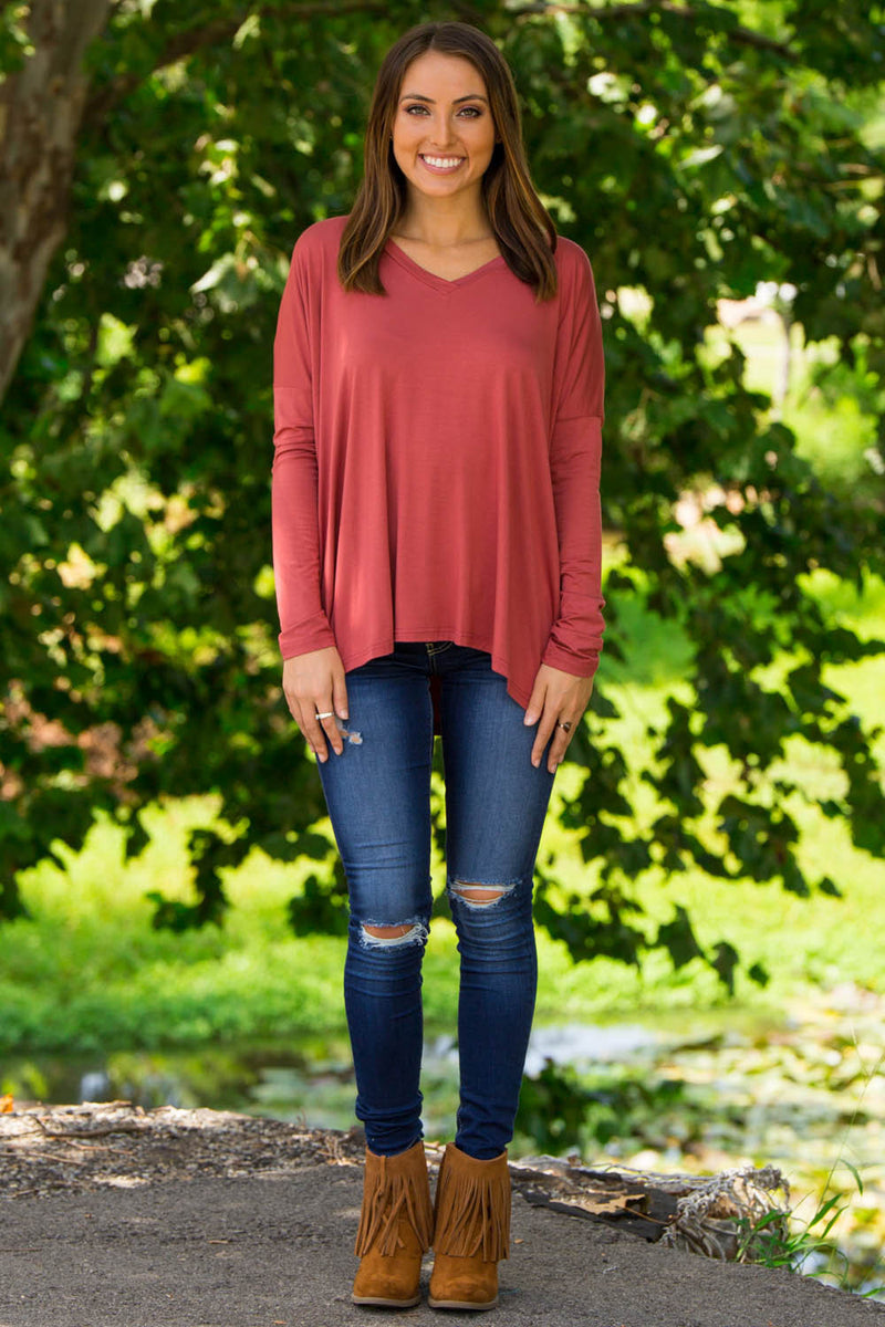 The Perfect Piko V-Neck Top-Rust