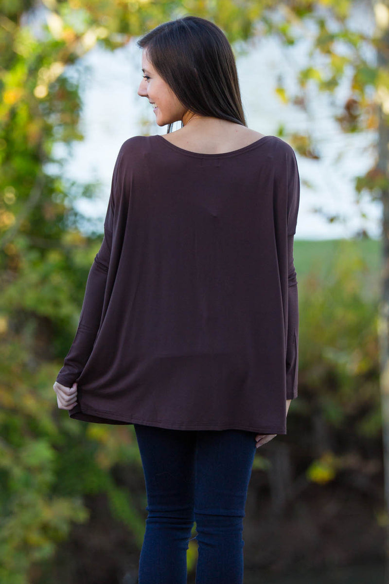 The Perfect Piko Top-Dark Brown