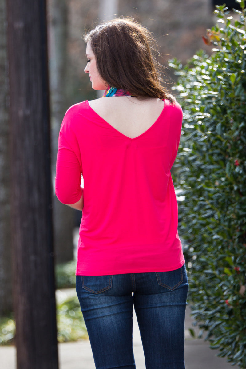 The Perfect Piko 3/4 Sleeve Slim Fit V-Neck Top-Watermelon