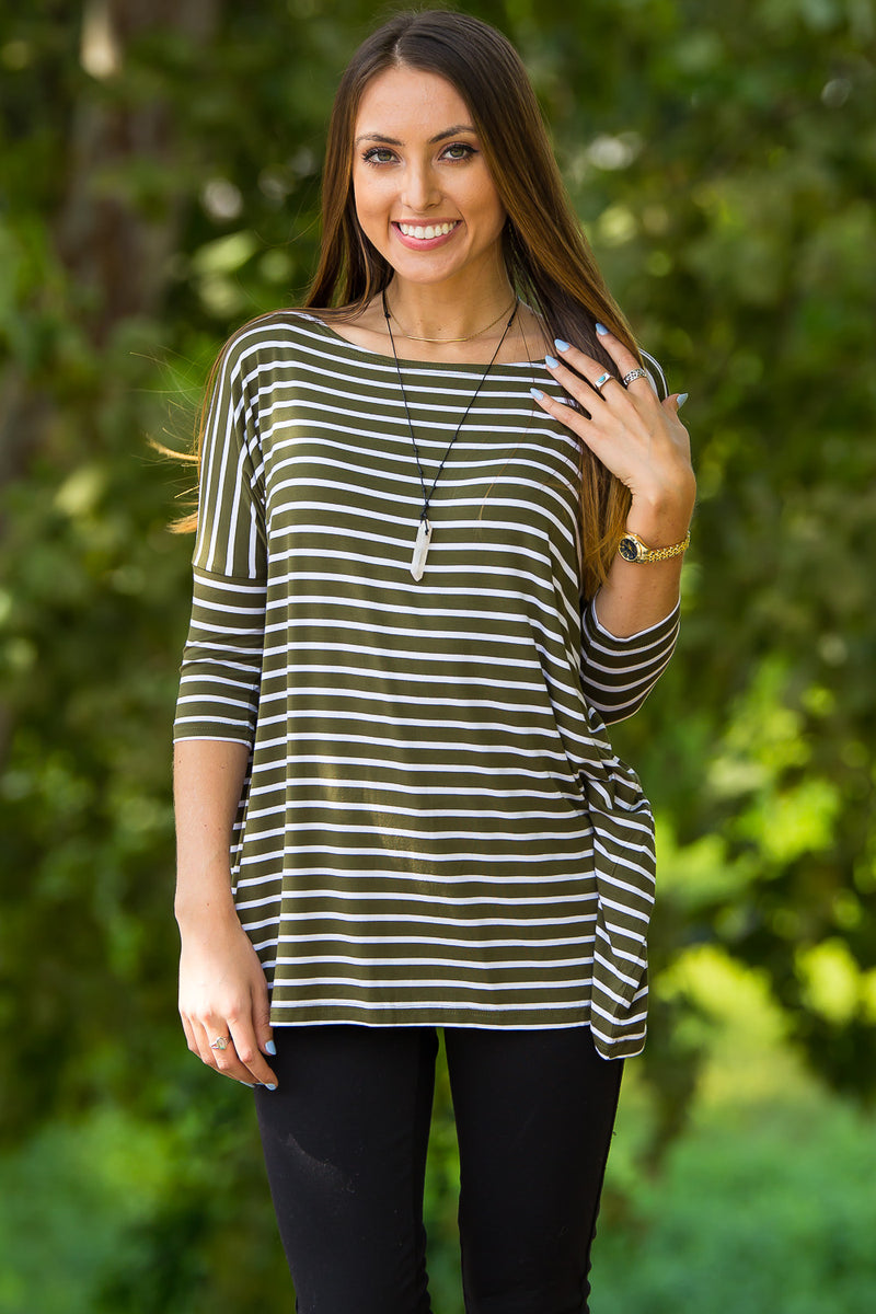 The Perfect Piko 3/4 Sleeve Tiny Stripe Top-Olive/White