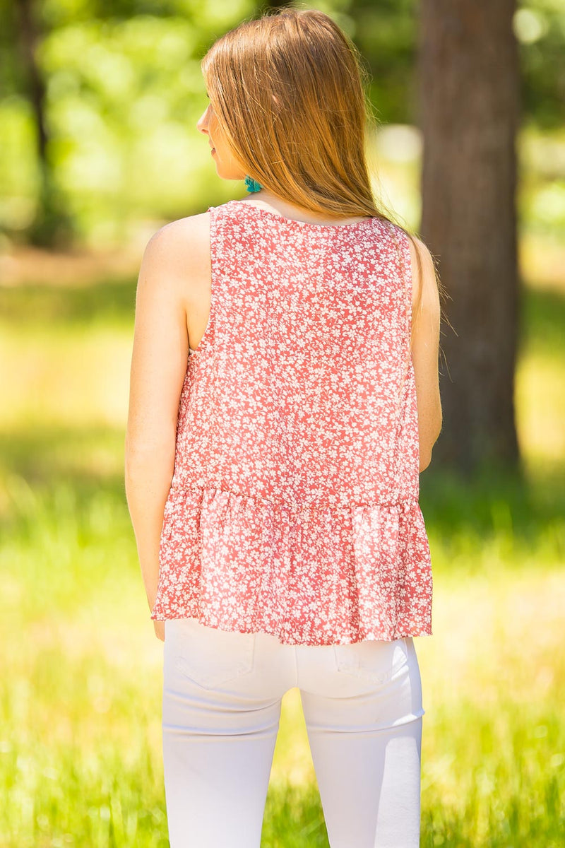 Smell The Flowers Tank Top-Blush/Cream