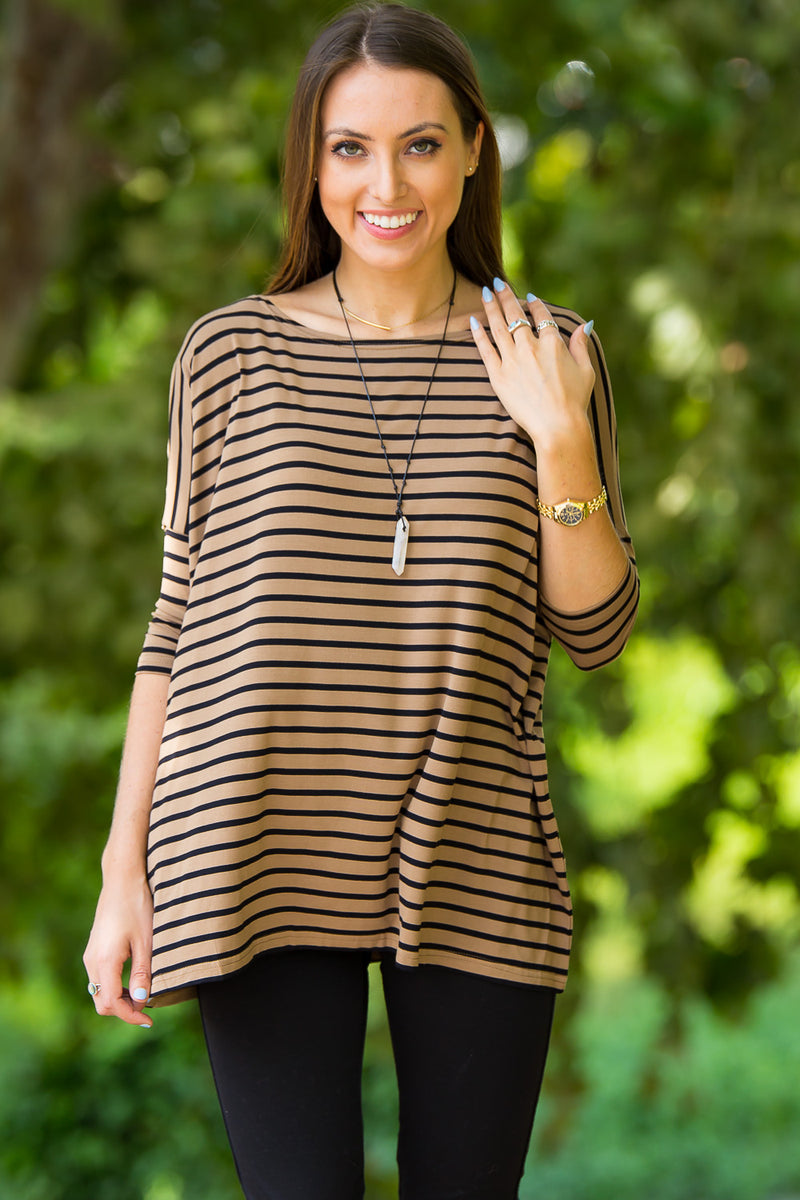 The Perfect Piko 3/4 Sleeve Tiny Stripe Top-Camel/Black