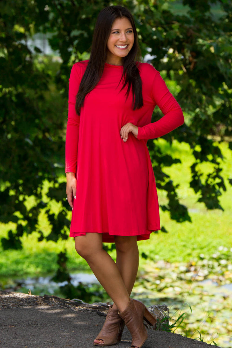 The Perfect Piko Long Sleeve Swing Dress-Watermelon