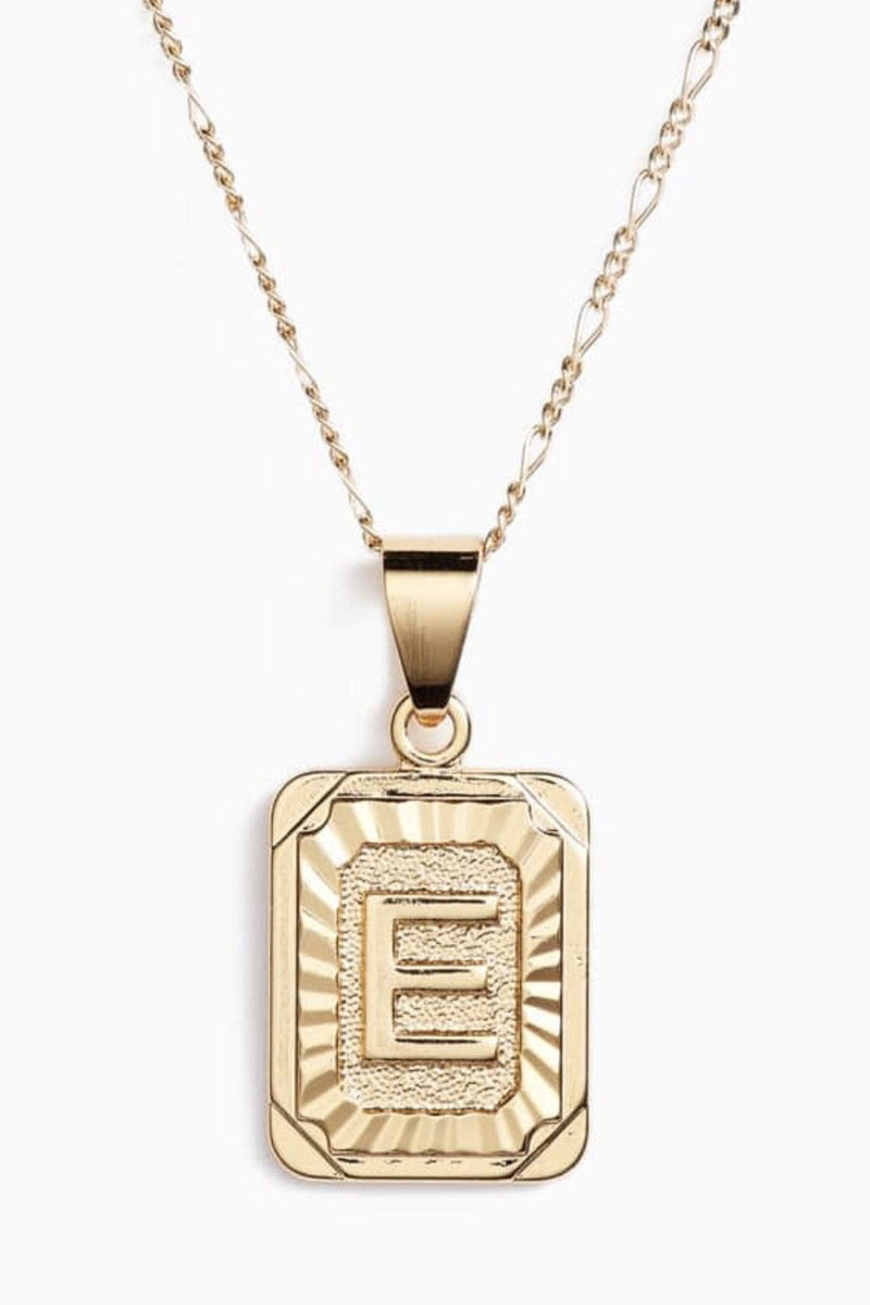 Bracha- Initial Card Necklace-Gold