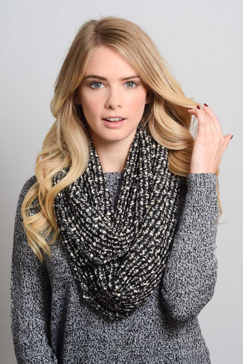 Boucle Infinity Scarf-Black