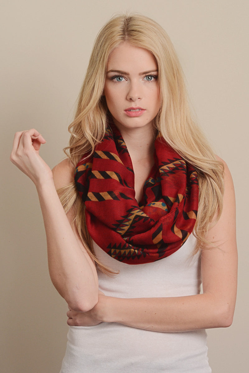 Aztec Print Infinity Scarf-Red
