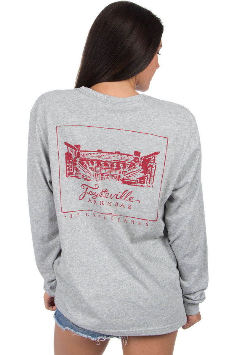 Lauren James-Arkansas Stadium T-Shirt-Heather Grey