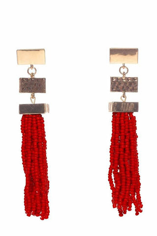 Stone Beaded Hoop Drop Earrings-Earth