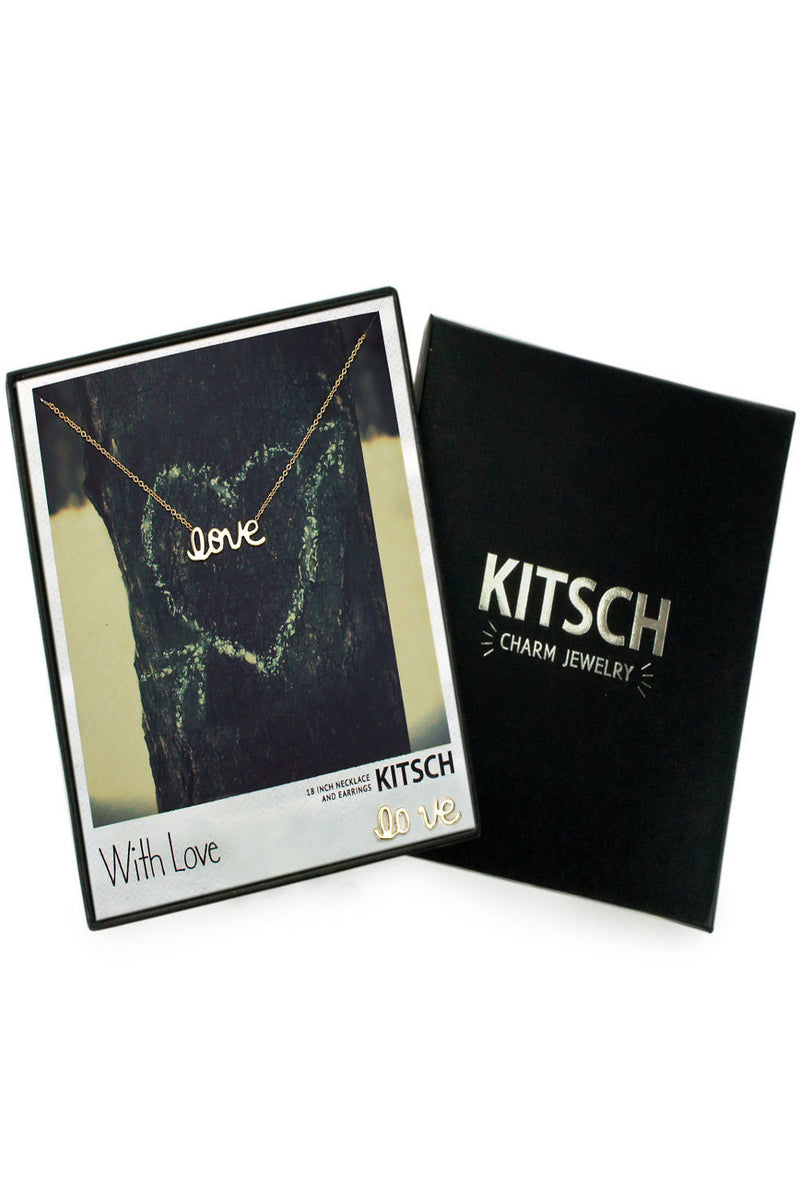 Kitsch-Love Script Earring And Necklace Set-Gold