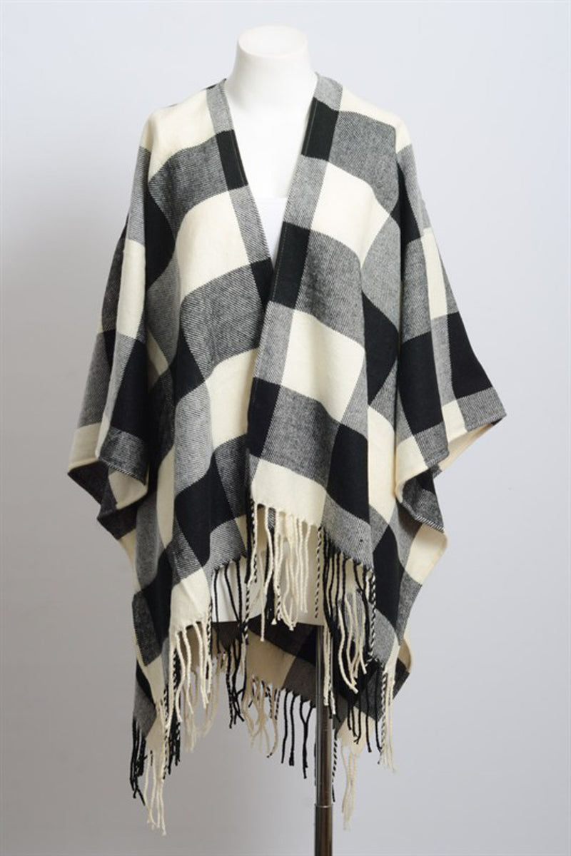 Buffalo Check Tassel Poncho-Black/White