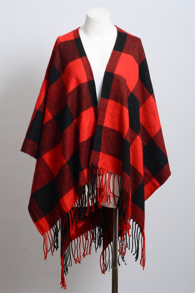 Buffalo Check Tassel Poncho-Black/Red