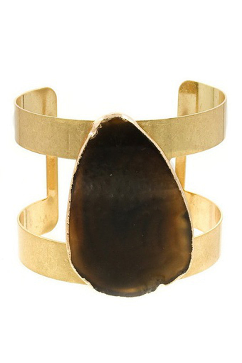 Genuine Stone Cuff Bracelet-Black