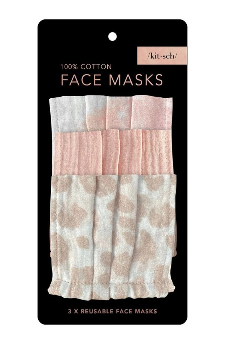 Kitsch- Cotton Face Mask Set-Blush