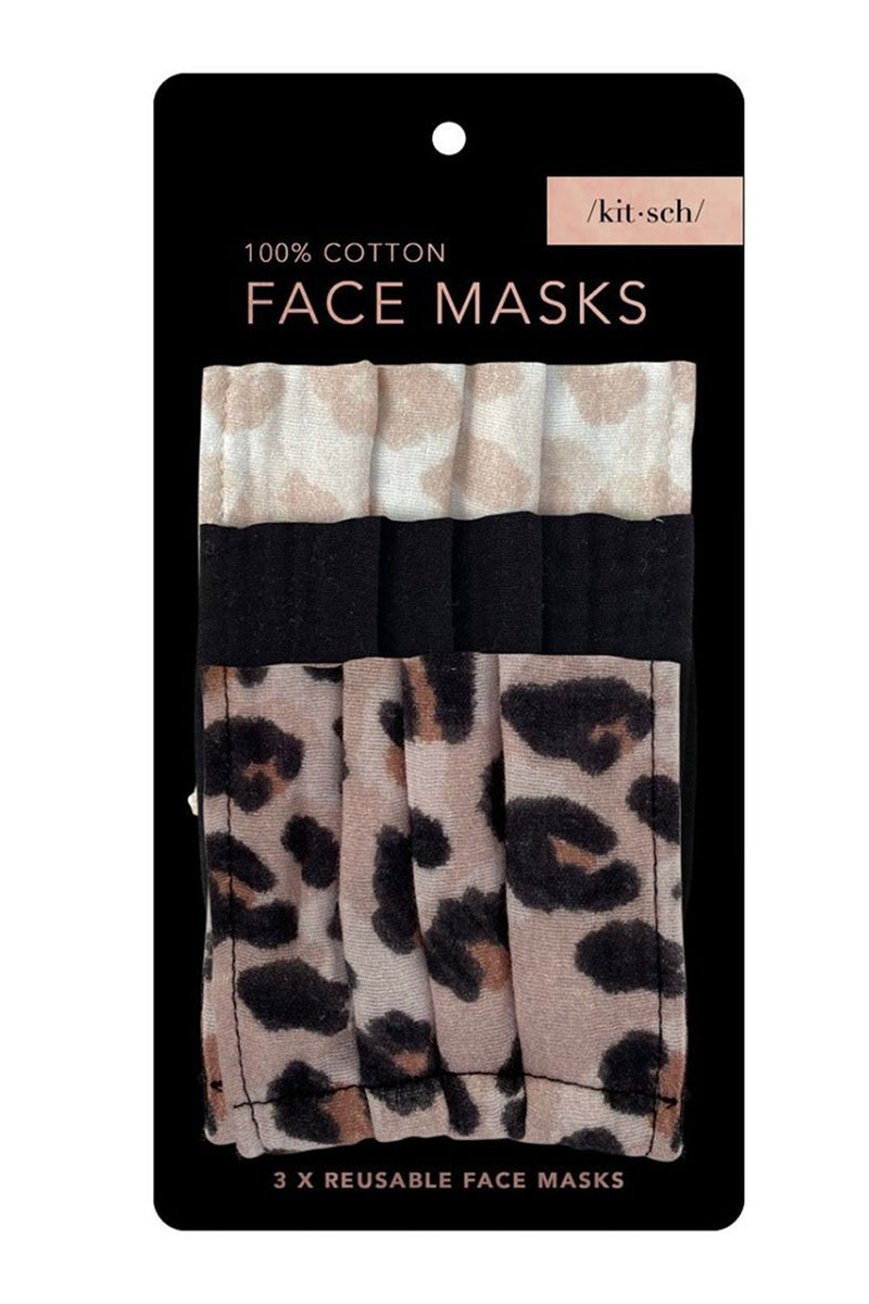 Kitsch- Cotton Face Mask Set-Leopard
