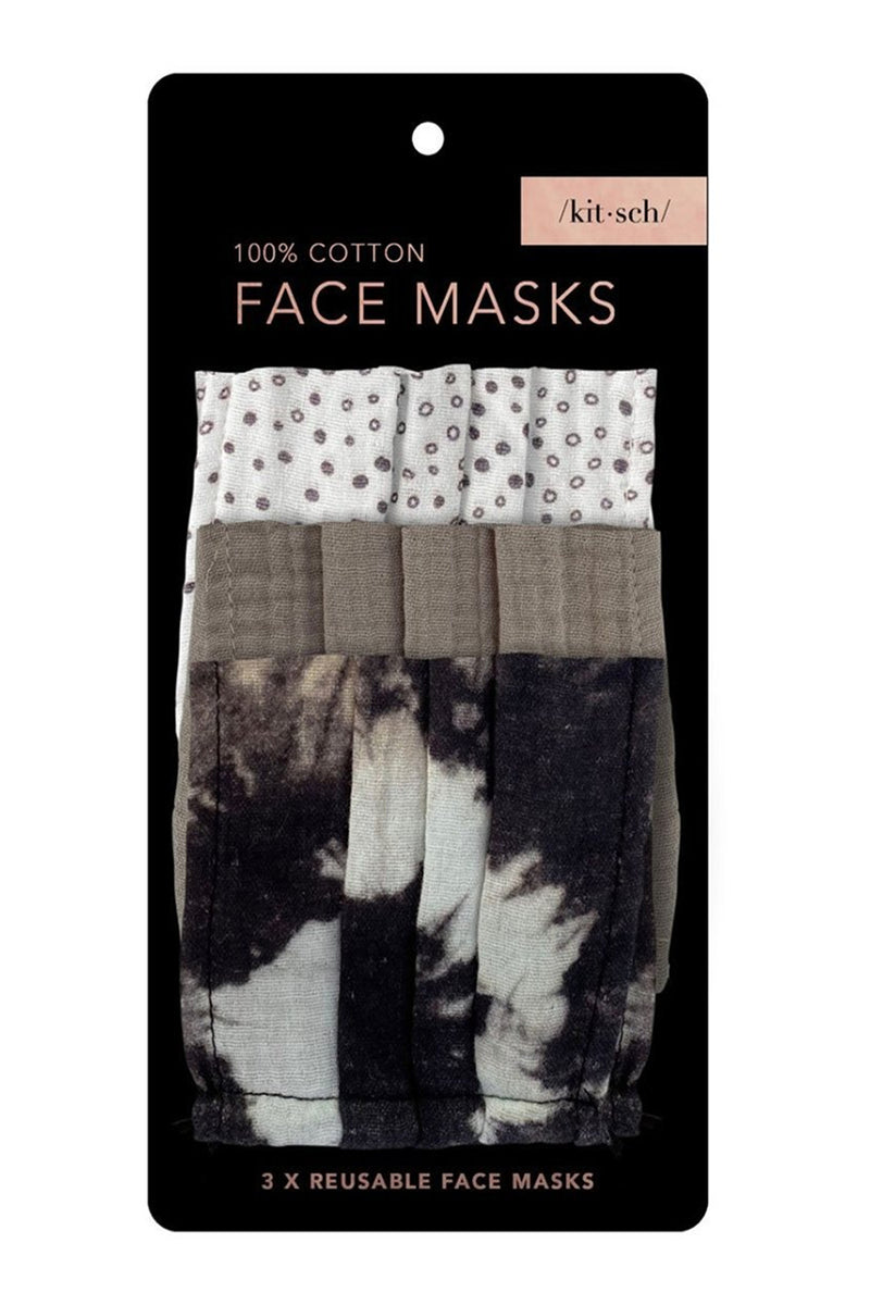 Kitsch- Cotton Face Mask Set-Neutral