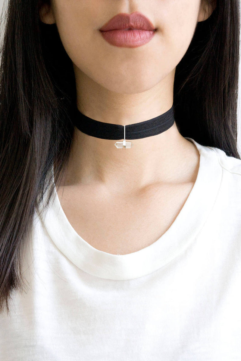 Kitsch-Basic Stretch Choker With Crystal Charm-Black