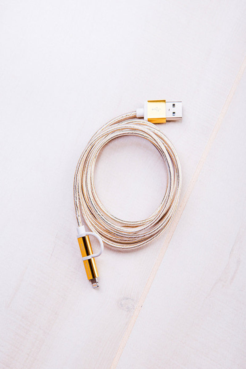 Tech Candy-Dynamic Duo USB Cable-Gold/Cloud
