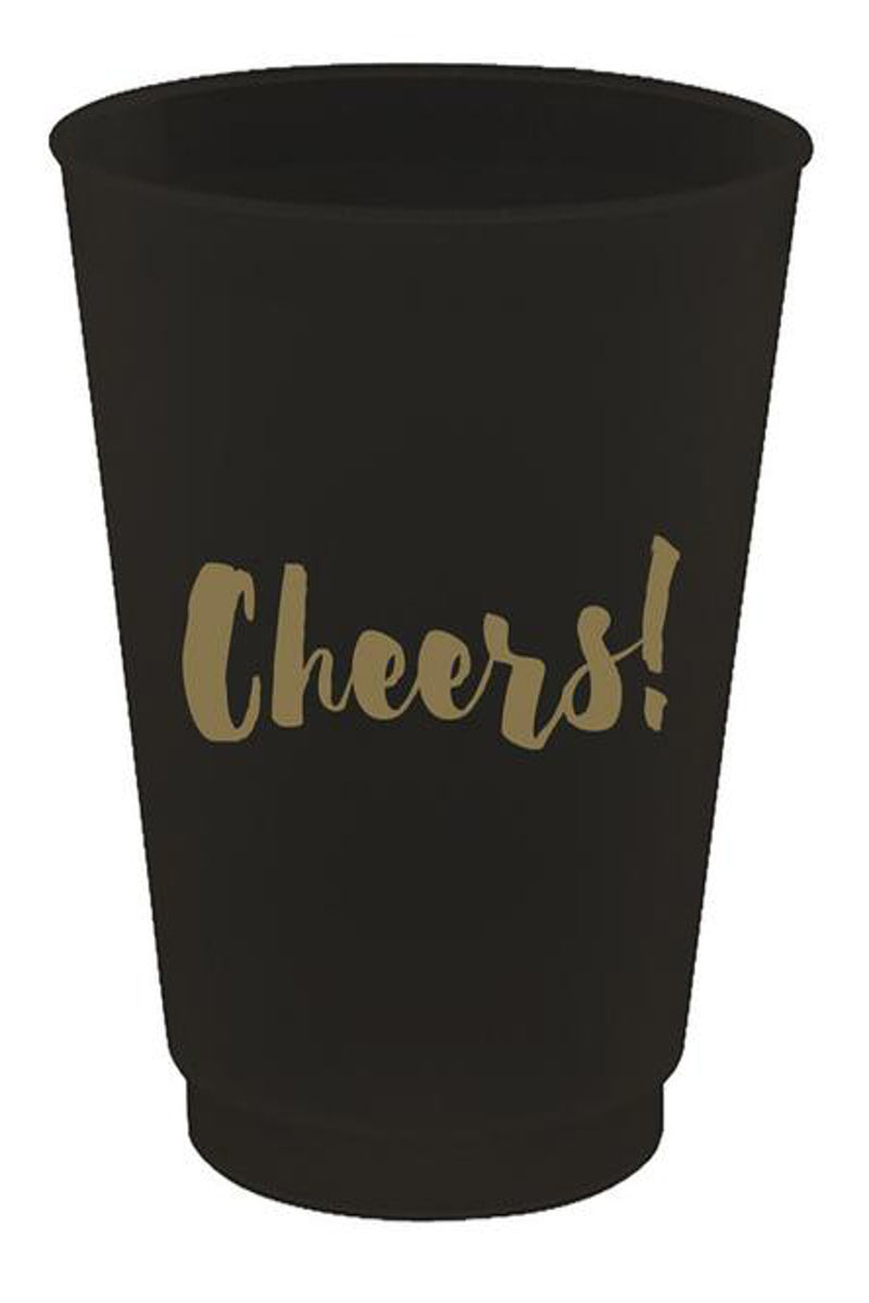 Slant Collections-Cheers Frost Flex Cups-Black/Gold