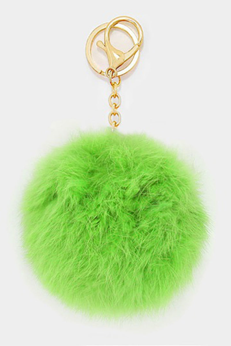 Pom Pom Key Chain-Neon Green