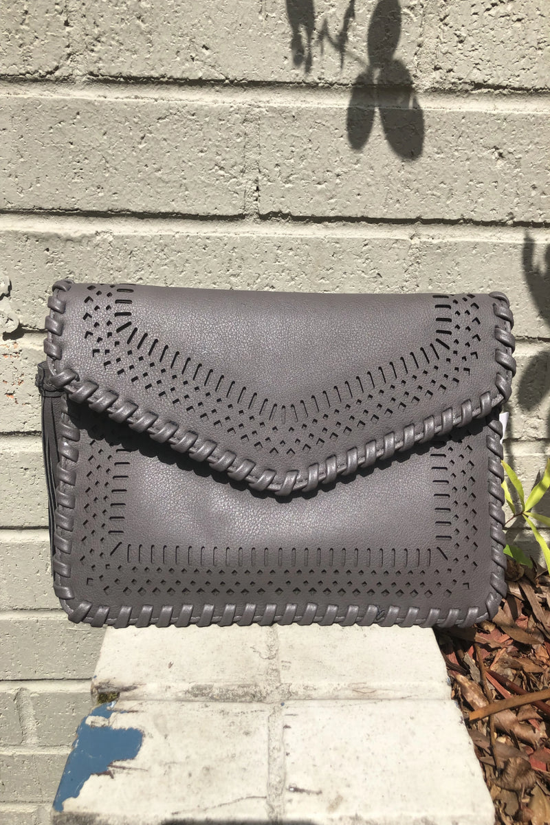 Braid Trim Envelope Clutch - Grey