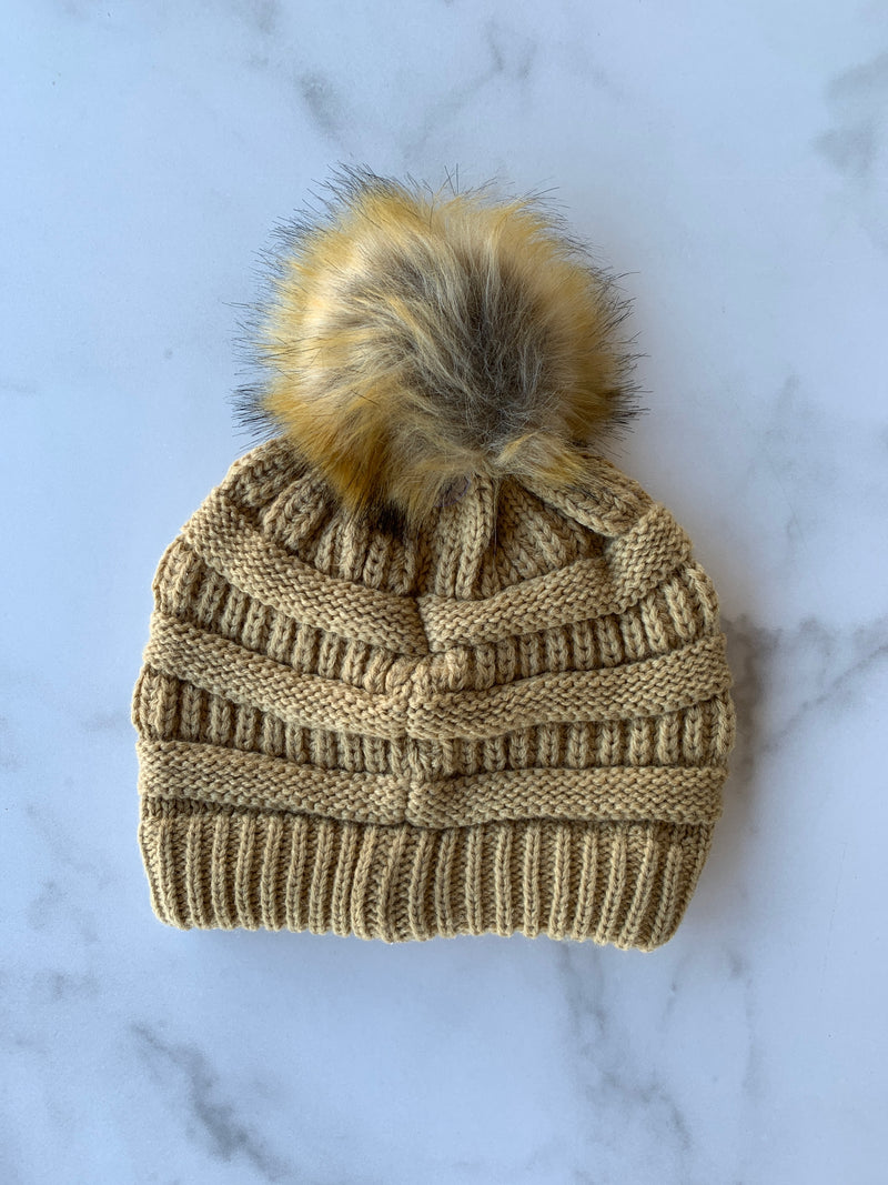 CC Solid Ribbed Beanie With Faux Fur Pom-Camel
