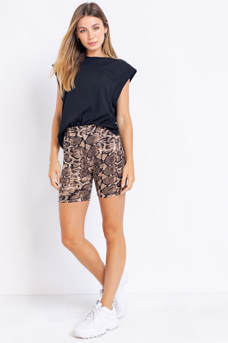 Snake Print Biker Shorts - Tan/Black