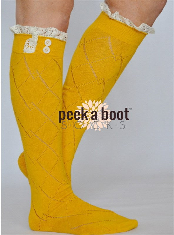SALE- The Chill Is Gone Boot Socks-Mustard