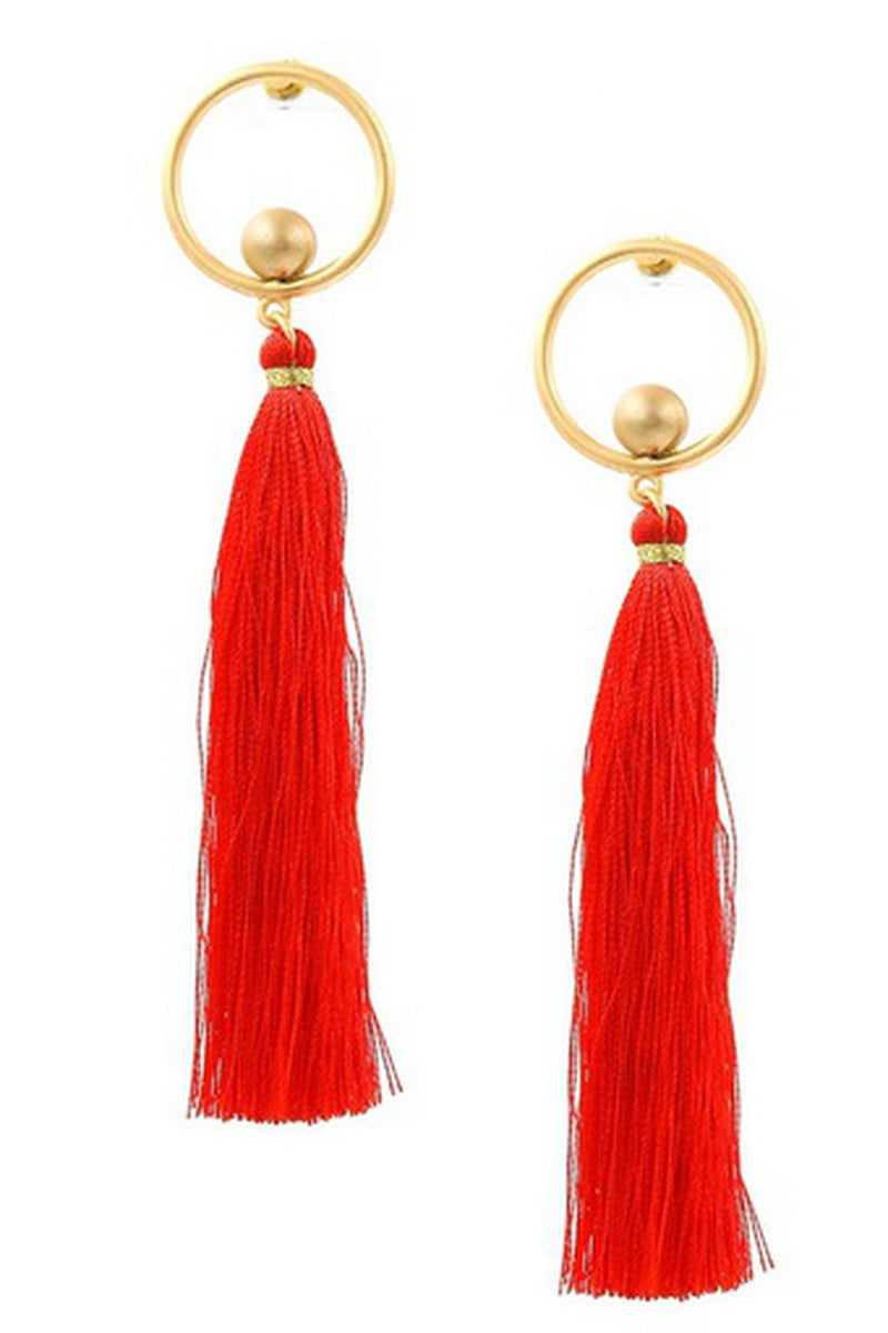 Metal Ring Tassel Drop Earrings-Red