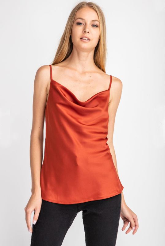 SALE-Strike That Pose Cowl Neck - Rust