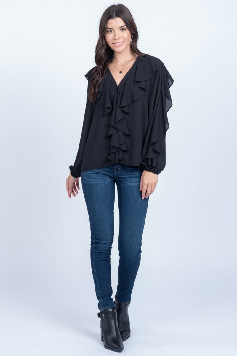 SALE - Ruffle Along Top-Black