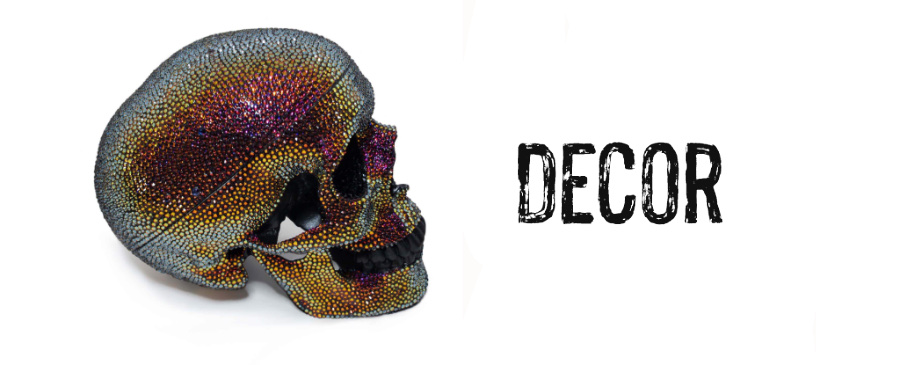 Decor banner featuring a Swarovski crystal covered skull made by Lauren Tatum for Bunny Paige