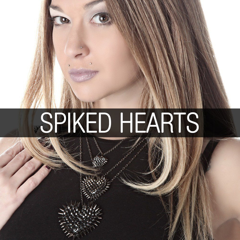 Modern-Punk, Alt Fashion-Jewelry, Wearable-Art & Accessories. Iconic Edgy Classic Spiked Heart Necklaces - hand made with Swarovski crystals! The ultimate in sparkle!