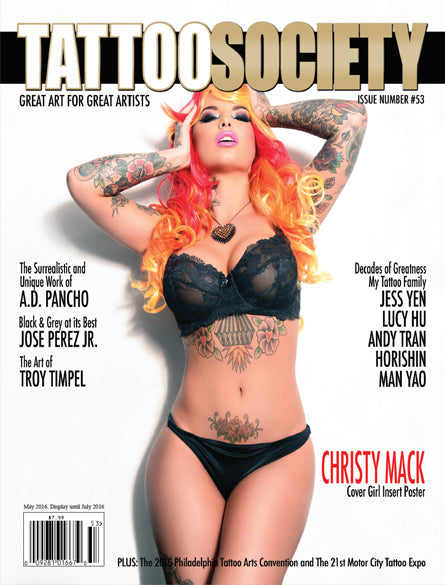 TATTOO SOCIETY Magazine Cover Featuring Bunny Paige Heartbreaker Spiked-Heart Necklace worn by model and actress Christy Mack