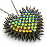Classic Spiked & Paved Heart Necklace in Vitrial