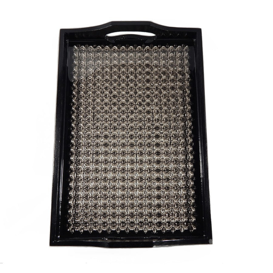 Heavy Metal | Black Lacquer Pyramid Studded Tray