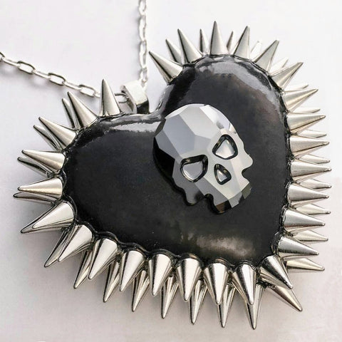 Crystal Skull Spiked Heart Necklace